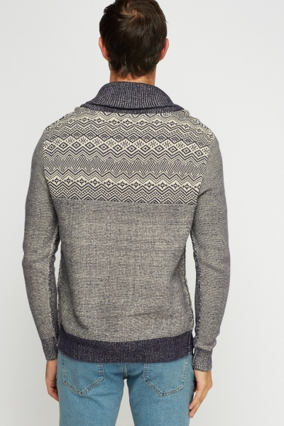 Mixed Print Navy Jumper