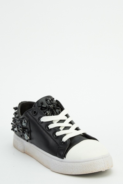 Beaded Embroidered Low Top Trainers