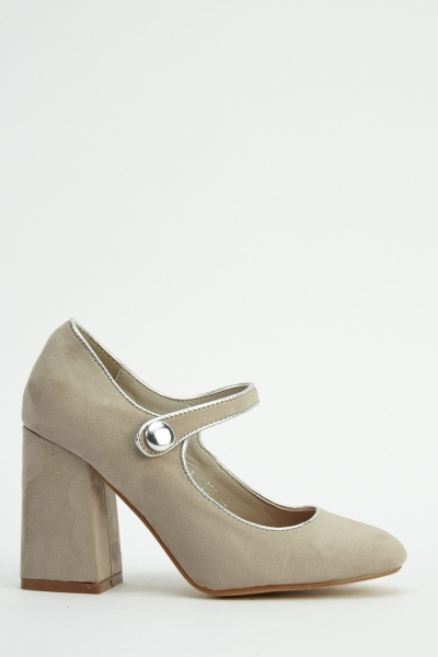 Block Heel Suedette Slip On Shoes