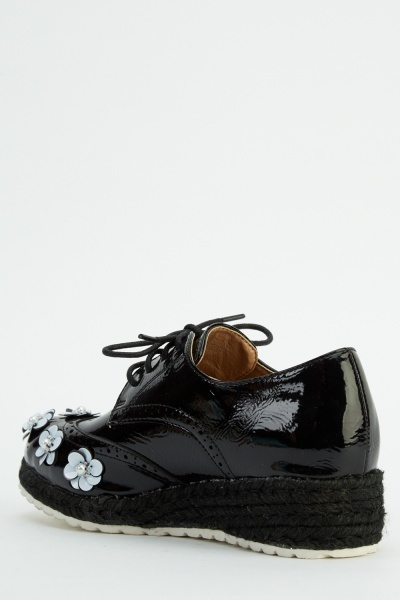Sequin Flower Wedged Brogue Shoes