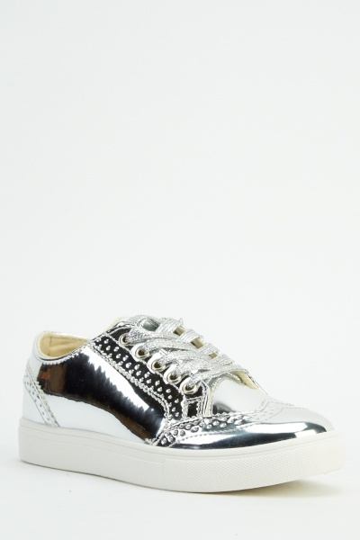 Silver Lace Up Brogue Shoes