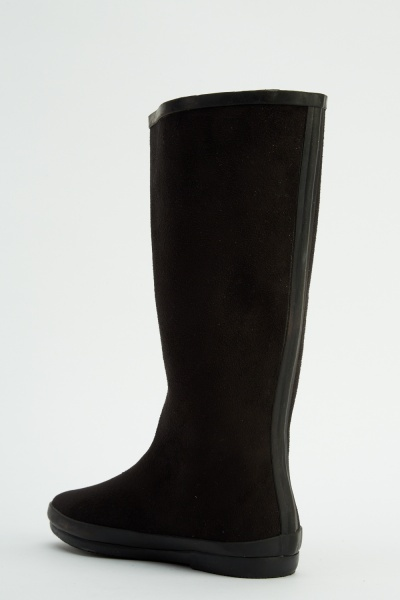 Suedette High Knee Welly Boots