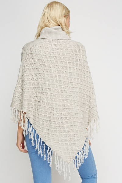Asymmetric Knitted High Neck Poncho