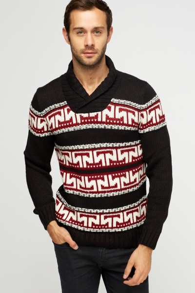 Black Knitted Print Jumper