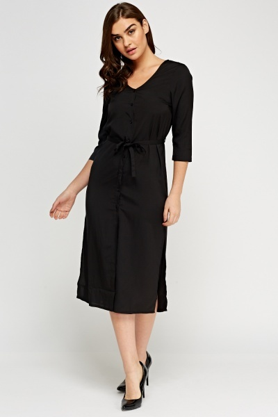 Black Tie Up Midi Shirt Dress