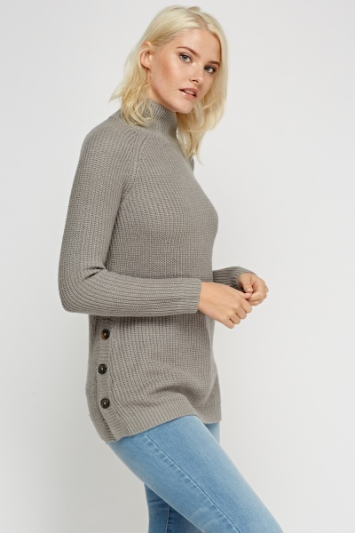Button Side Knitted Jumper