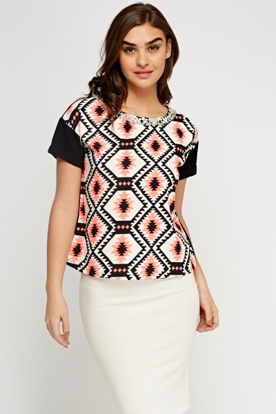 Embellished Collar Printed Top