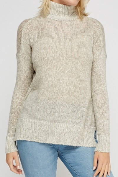 High Neck Speckle Knitted Jumper