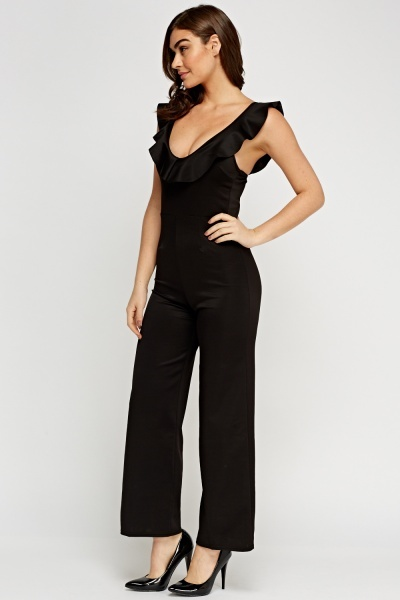 Wide Leg Frilled Jumpsuit