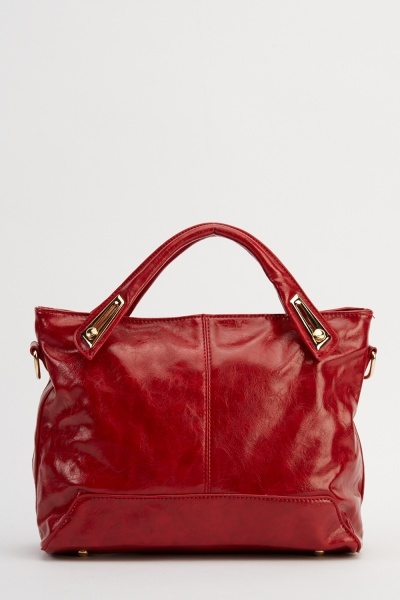 Detailed Handle Faux Leather Handbag