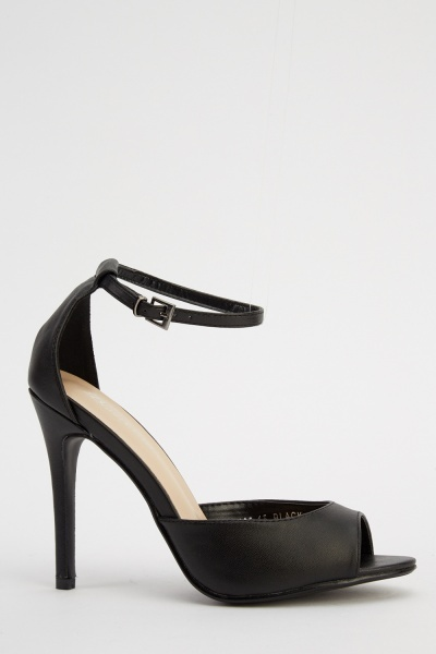 Faux Leather Heeled Sandals