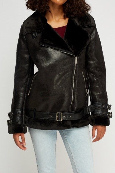 K.Zell Faux Fur Trim Contrast Black Biker Jacket