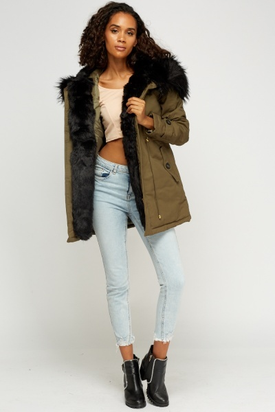 507b9bb520b8 k zell faux fur trim parka jacket limited edition discount designer stock