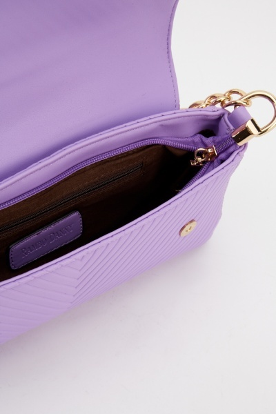 Lilac Striped Embossed Small Handbag