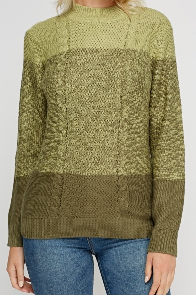 Colour Block Olive Knitted Jumper