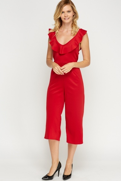 Frilled Crop Wide Leg Jumpsuit