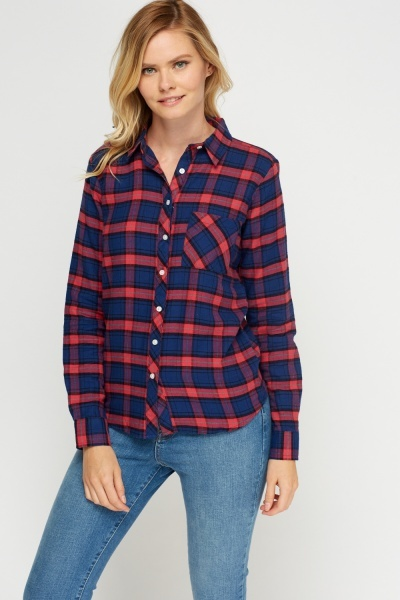 Navy Multi Checked Shirt