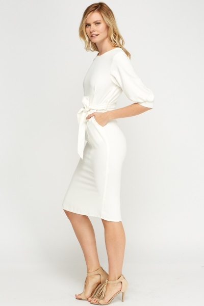 Off White Tie Up Shift Dress