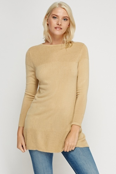 Ribbed Knit Panel Longline Jumper