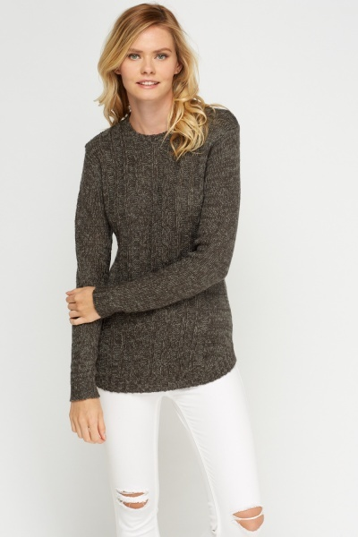 Speckled Cable Knit Panel Jumper