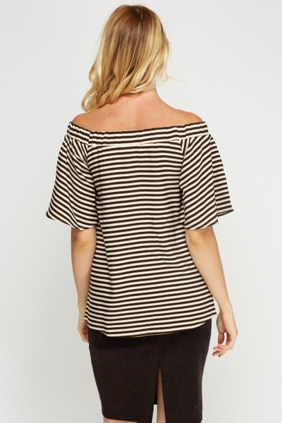 Stripe Off Shoulder Top
