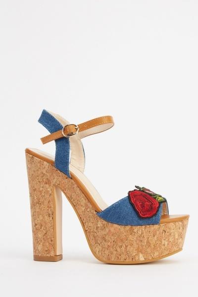 Applique Flower Denim Cork Sandals