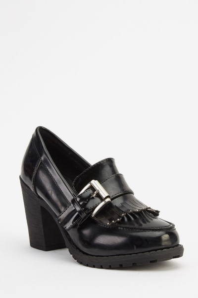 Block Heel Studded Fringed Shoes