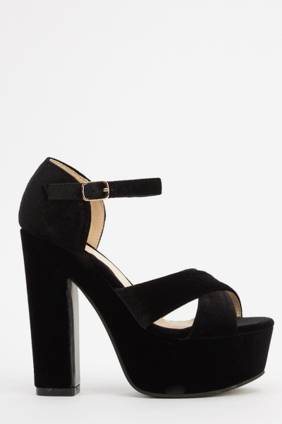 Velveteen Crossed Strap Heeled Sandals