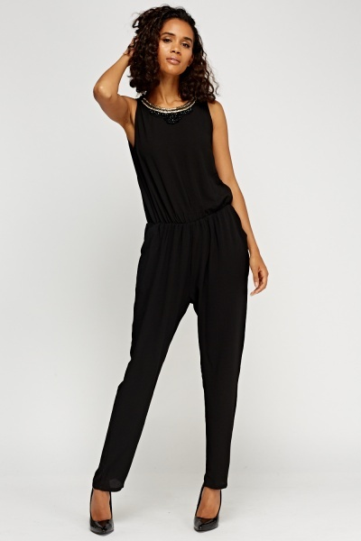 Embellished Neck Sleeveless Jumpsuit