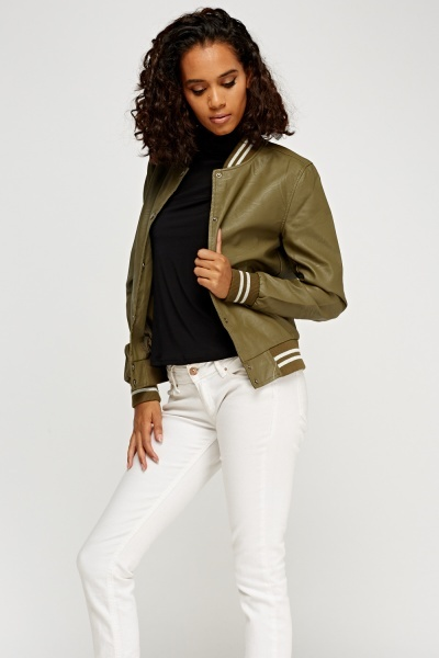 Faux Leather Contrast Jacket