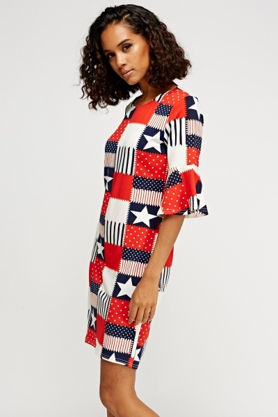 Flare Sleeve Printed Dress