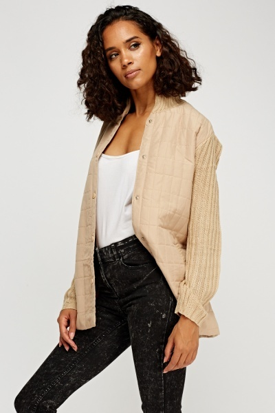 Knitted Sleeve Contrast Jacket