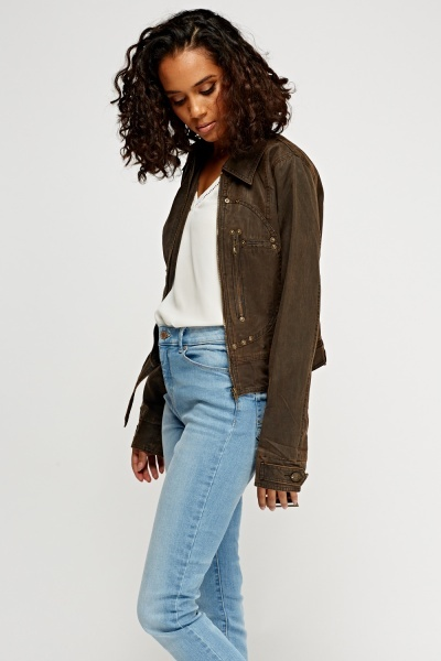 Studded Suedette Crop Jacket