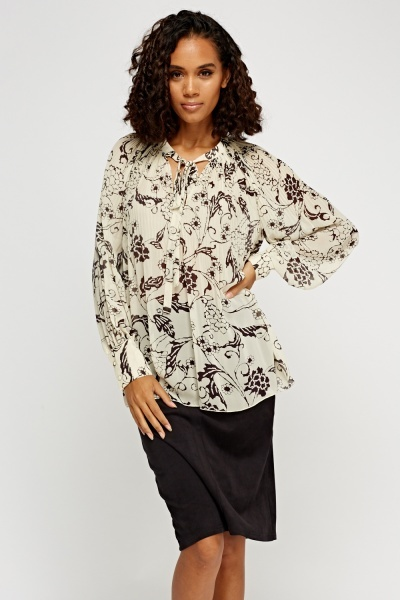 Tie Up Neck Pleated Sheer Blouse