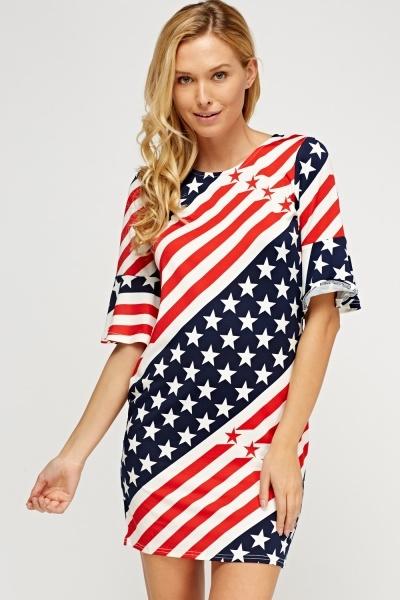 Flared Sleeve Mix Printed Dress