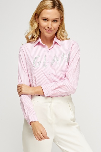 Glitter Print Front Striped Shirt