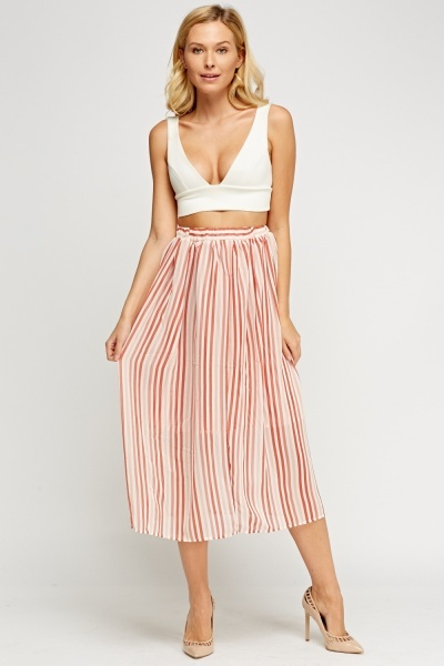 High Waist Stripe Sheer Skirt