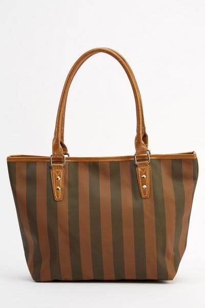 Brown Stripe Printed Tote Bag