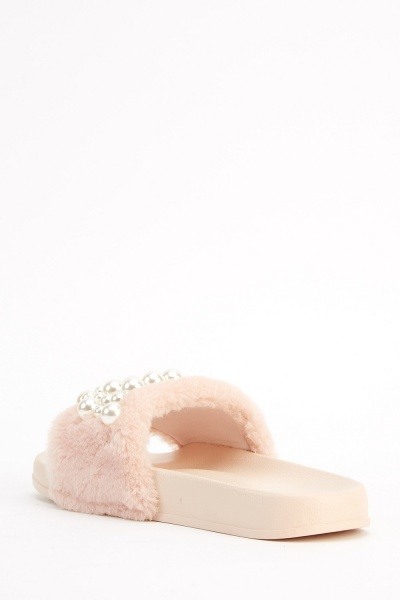 Embellished Faux Pearl Sliders