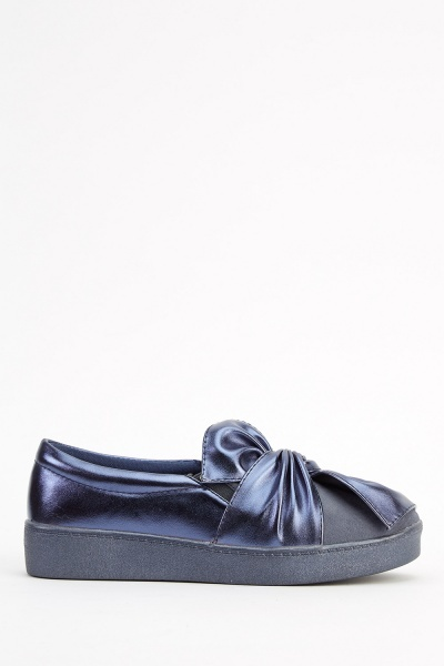 Faux Leather Stitched Bow Plimsolls