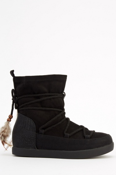 Feather Tie Up Suedette Ankle Boots