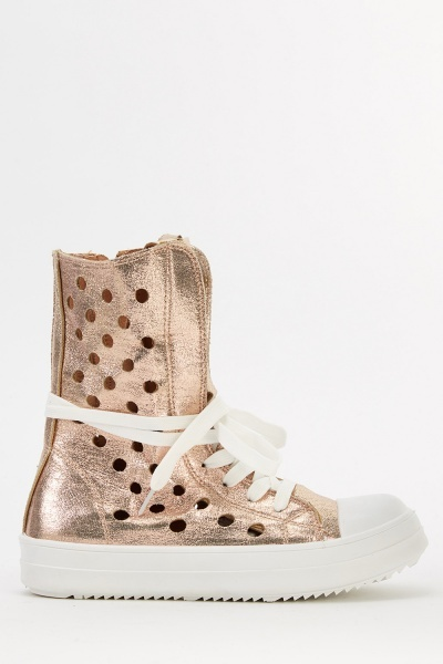 Laser Cut High Top Metallic Trainers