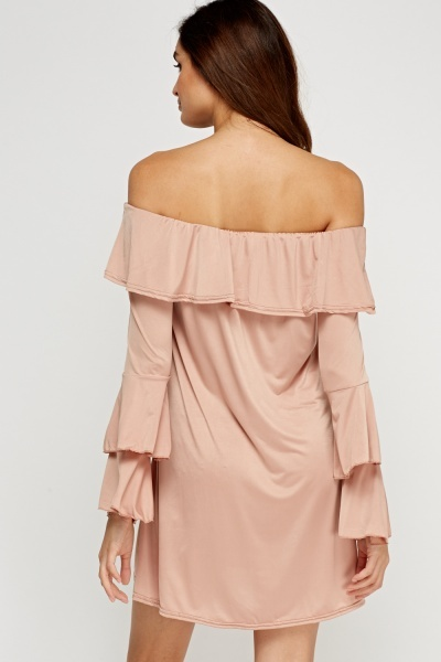 Layered Flared Off Shoulder Dress