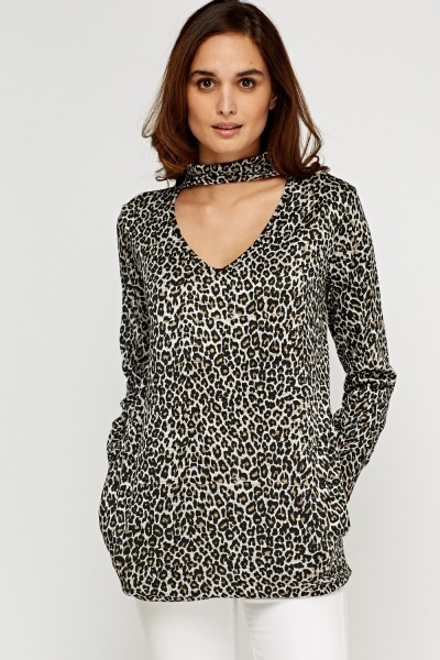 Leopard Printed Choker Neck Top