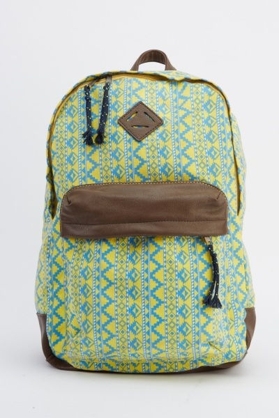Aztec Print Contrast Backpack