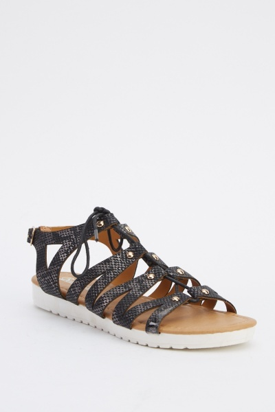 Mock Croc Strappy Sandals