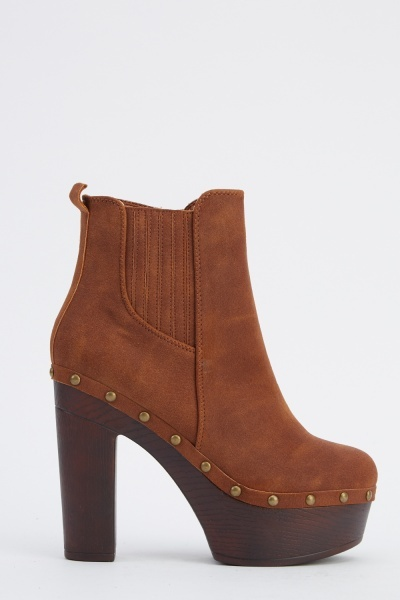Studded Suedette Heeled Boots