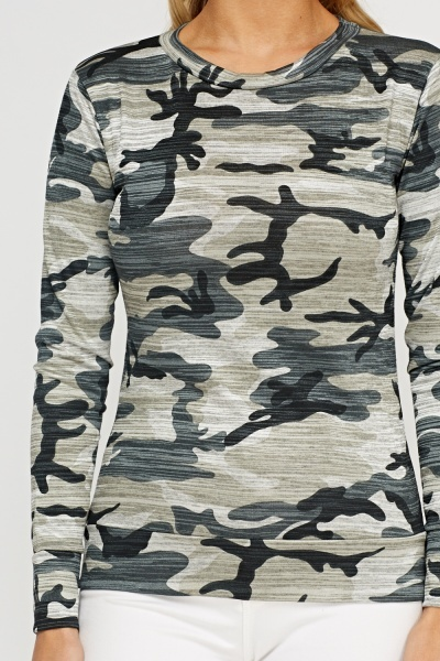 Camouflage Print Thin Jumper