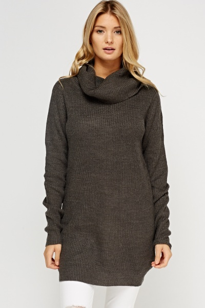 Cowl Neck Ribbed Longline Jumper