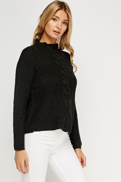 High Neck Speckled Knitted Jumper